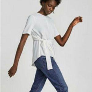 Zara white asymmetrical top